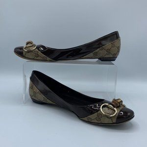 Gucci Bamboo Monogram Patent Leather Ballet Flat